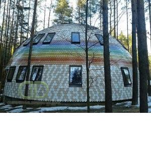 Купольный дом с применением гнуто клееных деревянных конструкций.
